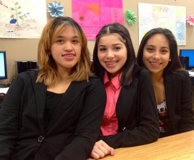 Students in the TIA Business Class - Princess Perazza, Jhoanna Barcelo, Brianna Serrano